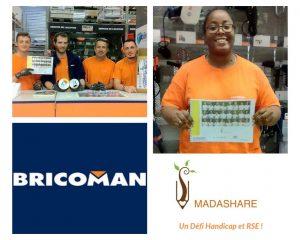 Collecte de dons - Photos des salariés et logo Bricoman